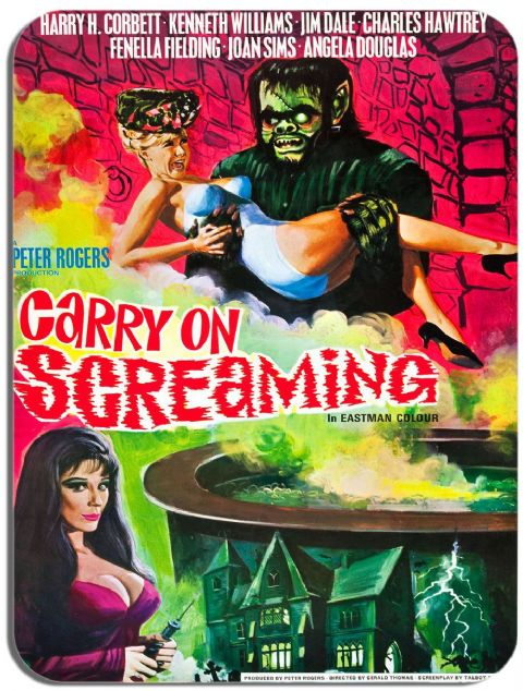Carry on Screaming Movie Poster Mouse Mat. Film Novelty Mouse pad